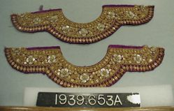 Five pairs of embroidered satin bands