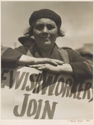 San Francisco, 1934 [Woman Leaning on a Jewish Worker's Sign]