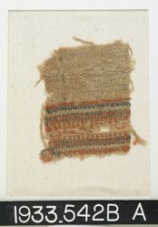 Wool Fragment with Red and Blue Bands