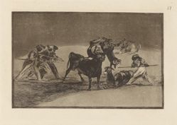 Palenque de los moros hecho con burros para defenderse del toro embolado (The Moors Use Donkeys as a Barrier to Defend Themselves Against the Bull Whose Horns Have Been Tipped with Balls), Plate 17 from La tauromaquia