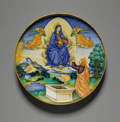 Footed Dish with the Virgin Handing Her Girdle to Saint Thomas