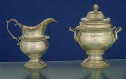 Sugar bowl with cover and creamer
