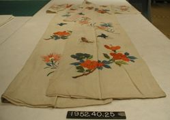 Kimono, plain cloth, prined and embroidered