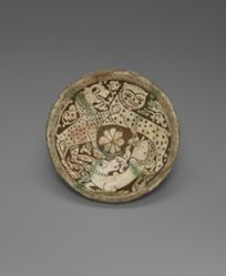 Bowl with Two Leopards and a Deer