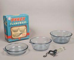 """Pyrex Flameware"" three-piece skillet and saucepan set in original box"
