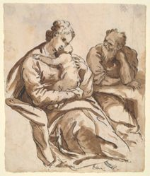 Recto: The Holy Family; Verso: Study of a leg