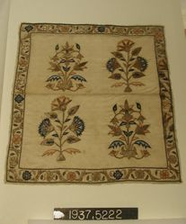 Embroidered panel of plain cloth