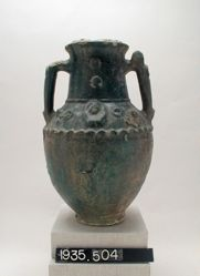 Large green-glazed amphora
