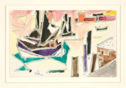 Untitled [Abstracted ship and dock]