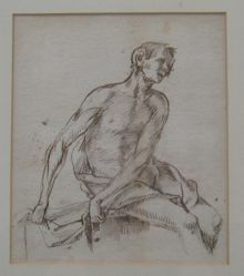 Seated male nude with his arms to the side