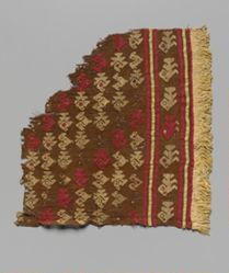 Brown and red brocade on cotton or wool