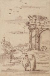 Two Figures in a Landscape with Ruins