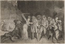 Elizabeth Cazotte Rescues Her Father from the Death Sentence at the Prison of  l'Abbaye, 2-3 September 1792 (recto); Figure Studies (verso)
