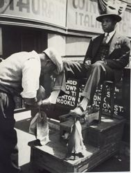 Bootblack and Patron, Harlem, New York City
