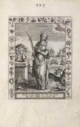 Saint Justina, 1 of 25 plates from the series Martyrologium Sanctarum Virginum (Female Martyr Saints)