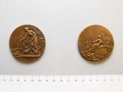 French medal portraying rustic scene