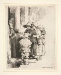Beggars Receiving Alms at the Door of a House, or  lindurdy-urdy player and a family receiving alms