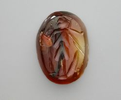 Carved Intaglio Gemstone with Figure of Athena