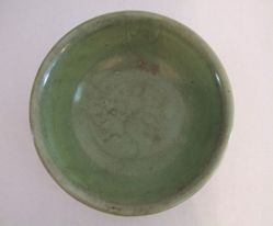 Deep bowl with green glaze