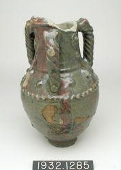 Large three-handled green-glazed vase