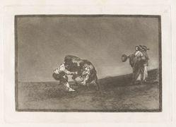 El mismo vuelca un toro en la plaza de Madrid (The Same Man Throws a Bull in the Ring at Madrid), Plate 16 from La tauromaquia