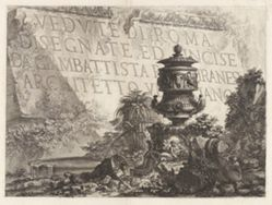 Title page, from Vedute di Roma Disegnate ed Incise da Giambattista Piranesi Architetto Ve[nez]iano (Views of Rome Drawn and Etched by Giambattista Piranesi, Venetian Architect)