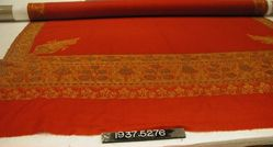 Shawl of embroidered wool twill