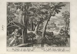 Sarah the Hermit, one of 24 prints from the series Solitudo Sive Vitae Foeminarum Anachoritarum (Female Hermits in Landscapes)