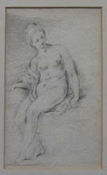 A nude woman turned to the right