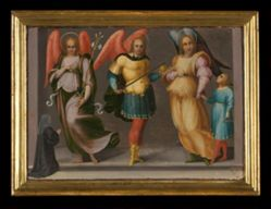 Archangels Gabriel, Michael, and Raphael with Tobias and a Female Donor