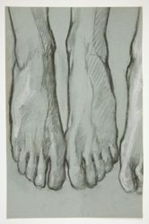 Sketch of three feet (recto); Sketch of one foot (verso)