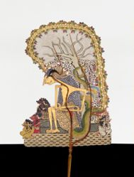 Shadow Puppet (Wayang Kulit) of Arjuna Bertapa or Ciptoning (Arjuna in Meditation), from the consecrated set Kyai Nugroho