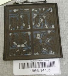 Blue and white enamel plaque with four Biblical scenes