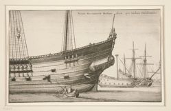 Dutch West Indiaman, from Navium varie figurae, number fivev of a series of twelve etchings of Dutch ships