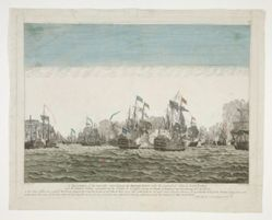 A representation of the memorable action between the British Fleet under the command of Admiral Lord Rodney and the French Fleet commanded by the Count de Graffe, between the islands of Domenica and Guadaloupe 12th April 1782
