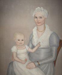 "Mrs. Wilbur (Sarah ""Sally"" Stearns) Sherman (1789-1845) and daughter Sarah (1814-1872)"