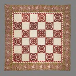"Quilt, variation of the ""Blazing Sun"" pattern"