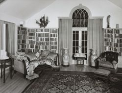 "Interior view of Katherine S. Dreier's West Redding home, ""The Haven"": Library -- other end of room"