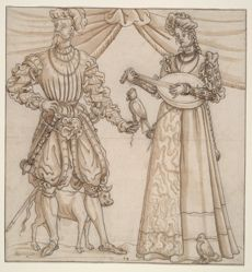 A Cavalier with Falcon and a Young Lady Playing a Lute