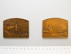 Bronze Plaquette of Farmer at Rest from France