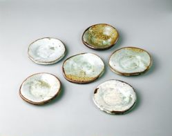 Set of Six Small Plates with Kohiki Glaze