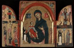 Triptych: Virgin and Child with Saints Dominic and Francis; The Crucifixion; Saint Michael with Saints Peter Martyr and Catherine of Alexandria