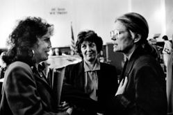 Donna Ferrato, Hedda Nussbaum versus Joel Steinberg, with Betty Levinson and Gloria Steinem, Supreme Court, New York City, from the series Holy