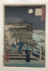 Night View of Yanagibashi, from the series Famous Places in Tokyo