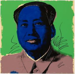 Mao, in a portfolio of ten: Dark blue face with white striation, mauve jacket