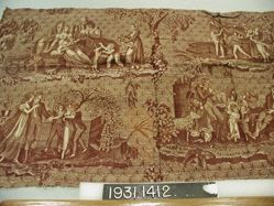 "Length of printed cotton, ""Family Scenes"""