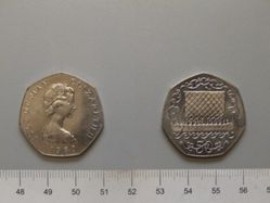 Fifty Pence of Queen Elizabeth II from Isle of Man