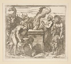 Noah offers a sacrifice..., after Raphael's painting in the Vatican loggia