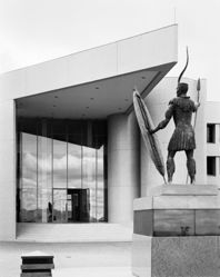 The Kwazulu Legislative assembly building with a memorial to shaka. Ulundi, Kwazulu