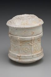 Pyxis with Geometric and Plant Motifs